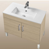 Daytona Collection 30'' 2-Door Bathroom Vanity in Pickled Oak with Polished or Satin Leg Frame and Hardware with Multiple Sink Top Options