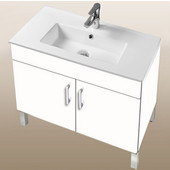 Daytona Collection 30'' 2-Door Bathroom Vanity in White Gloss with Polished or Satin Leg Frame and Hardware with Multiple Sink Top Options