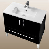 Daytona Collection 30'' 2-Door/1-Drawer Bathroom Vanity in Black Gloss with Polished or Satin Leg Frame and Hardware with Multiple Sink Top Options
