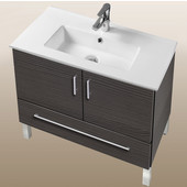 Daytona Collection 30'' 2-Door/1-Drawer Bathroom Vanity in Greyline Gloss with Polished or Satin Leg Frame and Hardware with Multiple Sink Top Options