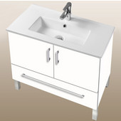 Daytona Collection 30'' 2-Door/1-Drawer Bathroom Vanity in White Gloss with Polished or Satin Leg Frame and Hardware with Multiple Sink Top Options