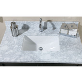 Empire 1-1/4'' Euro Marble Carrera White Bathroom Vanity Top w/ Rectangular Cut-Out 30''W, Available in Multiple Options