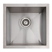 Empire 18 Gauge Zero Radius Single Undermount Sink in Stainless Steel, 17''W x 17''D x 9''H