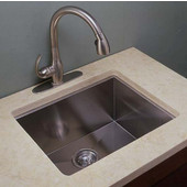 Empire 18 Gauge Zero Radius Single Undermount Sink in Stainless Steel, 22''W x 18''D x 10''H