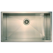 Empire 18 Gauge Zero Radius Single Undermount Sink in Stainless Steel, 30''W x 18''D x 10''H