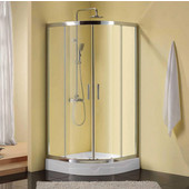 Corners Series Immerse Round 6mm (1/4'') Thick Clear Tempered Glass Shower Doors Enclosure, 75'' Height