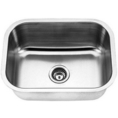 Empire 16-Gauge Undermount Single Bowl Stainless Steel Sink, 23''W x 17-3/4''D x 9''H