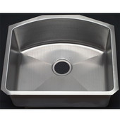Empire - Single Bowl D-Shape Kitchen Sink, 23''W x 20 1/2'' D, Stainless Steel