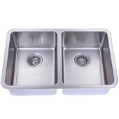 Empire Atlas Stainless Steel Undermount Kitchen Sink, Double Bowl, 18 Gauge, 29-1/2''W x 18-1/2''H, Comes with Grids & Strainers