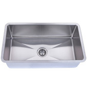 Empire Atlas Stainless Steel Undermount Kitchen Sink, Single Bowl, 18 Gauge, 31-1/2''W x 18-1/2''H, Comes with Grids & Strainers