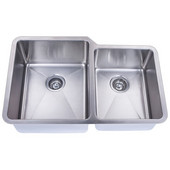 Empire Atlas Stainless Steel Undermount Kitchen Sink, Double Bowl, Big Left Bowl, 18 Gauge, 32''W x 21''D x 9''H, Comes with Grids & Strainers