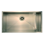Empire Everest Stainless Steel Kitchen Sink, Single Bowl, 16 Gauge, 30-1/2''W x 18-1/2''D x 10''H
