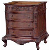 Empire Lido Collection Bathroom Vanity  with Hand-Carved Alder Frame & Drawers, 30'' W