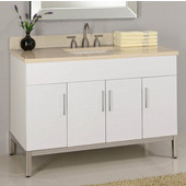Metropolitan 48'' Vanity for 4922 Center Cut-Out Stone Countertops in White Matte with Polished Frame & Hardware, 4 Doors