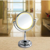 Lighted Table Top Round 360° Swivel Cosmetic Mirror 8'' Diameter, 5X Magnification, Battery Operated in Polished Chrome