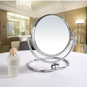 Table Top Round 360° Swivel Cosmetic Mirror 5-1/2'' Diameter, 5X Magnification in Polished Chrome
