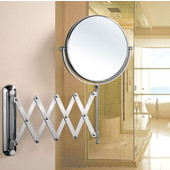 Wall Mount Round 360° Swivel Cosmetic Mirror 8'' Diameter with Scissor Design Extending Arm, 5X Magnification in Polished Chrome