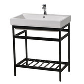 New South Beach 30'' Bathroom Vanity Console in Black Stainless Steel for Milano 30'' Sink Top, 28-7/8'' W x 19-1/8'' D x 31'' H