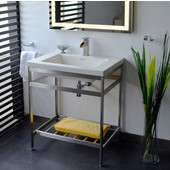 New South Beach 24'' Vanity Console in Polished Stainless Steel for 25×22 Tops