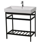 New South Beach 40'' Bathroom Vanity Console in Black Stainless Steel for Milano 40'' Sink Top, 38-3/5'' W x 19-1/8'' D x 31'' H
