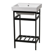 New South Beach 21'' Bathroom Vanity Console in Black Stainless Steel for Tribeca 21'' Sink Top, 20-1/2'' W x 18-3/5'' D x 32-11/16'' H