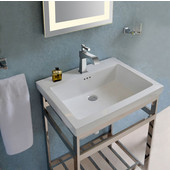 New South Beach Vanity Console in Satin Stainless Steel for 21'' Tribeca Sink