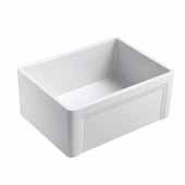 Olde London 24''W x 18''D Reversible Casement Edge Front Fireclay Single Bowl Farmhouse Kitchen Sink in White with Stainless Steel Grid