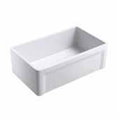 Olde London 30''W x 18''D Reversible Casement Edge Front Fireclay Single Bowl Farmhouse Kitchen Sink in White with Stainless Steel Grid