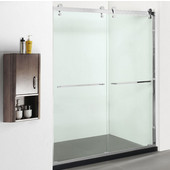 Ritz 10mm (3/8'') Thick Clear Tempered Glass Open Track Design Shower Doors Enclosure, Fits Wall Opening: 56'' to 60''