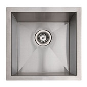 Empire 10mm (3/8'') Radius 16 Gauge Commercial Grade Single Undermount Sink in Satin Stainless Steel, 17''W x 17''D x 9''H