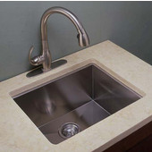 Empire 10mm (3/8'') Radius 16 Gauge Commercial Grade Single Undermount Sink in Satin Stainless Steel, 22''W x 18''D x 10''H
