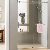 Supreme 10mm (3/8'') Thick Clear Tempered Glass Frameless Shower Doors Enclosure, Fits Wall Opening: 44'' to 48''