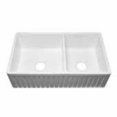 Empire Sutton Place 33'' W Reversible Double Bowl Fireclay Farmhouse Sink, 33'' W x 18'' D x 10'' H