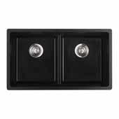 Empire Titan Double Bowl 2 Equal Sinks Black Quartz, 31''W x 18'' D x 9''H
