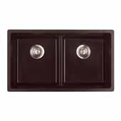 Empire Titan Double Bowl 2 Equal Sinks Chocolate Quartz, 31''W x 18'' D x 9''H