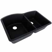 Empire Titan 32''x18'' Double Bowl Large Bowl Left Black Quartz