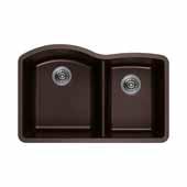 Empire Titan 32''x18'' Double Bowl Large Bowl Left Chocolate Quartz