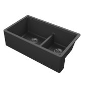 Titan 33'' Granite Composite Farmhouse Double Bowl Kitchen Sink in Black, 33-1/2'' W x 19-1/4'' D x 10'' H