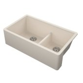 Titan 33'' Granite Composite Farmhouse Double Bowl Kitchen Sink in Tan, 33-1/2'' W x 19-1/4'' D x 10'' H