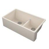 Titan 33'' Granite Composite Farmhouse Double Bowl Kitchen Sink in Tan, 33-1/2'' W x 19-1/4'' D x 10'' H