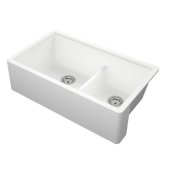Titan 33'' Granite Composite Farmhouse Double Bowl Kitchen Sink in White, 33-1/2'' W x 19-1/4'' D x 10'' H