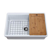Empire Tosca Farmhouse Fireclay 30'' Reversable Single Bowl Kitchen Sink White with Cutting-Board, Bottom Grid and Strainer, 30''W x 20''D x 10''H