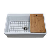 Empire Tosca Farmhouse Fireclay 33'' Reversable Single Bowl Kitchen Sink White with Cutting-Board, Bottom Grid and Strainer, 33''W x 20''D x 10''H
