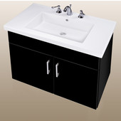 Wall-Hung Daytona 30'' Two Doors Vanity for Fiorella Ceramic Sink in Black Gloss with Polished Hardware