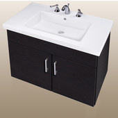 Wall-Hung Daytona 30'' Two Doors Vanity for Fiorella Ceramic Sink in Black Wood with Polished Hardware