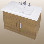 Wall-Hung Daytona 30'' Two Doors Vanity for Fiorella Ceramic Sink in Golden Wheat with Polished Hardware