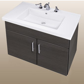 Wall-Hung Daytona 30'' Two Doors Vanity for Fiorella Ceramic Sink in Greyline Gloss with Polished Hardware