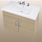 Wall-Hung Daytona 30'' Two Doors Vanity for Fiorella Ceramic Sink in Pickled Oak with Polished Hardware