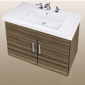 Wall-Hung Daytona 30'' Two Doors Vanity for Fiorella Ceramic Sink in Timber Gloss with Polished Hardware