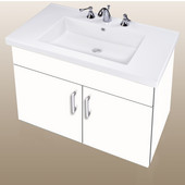 Wall-Hung Daytona 30'' Two Doors Vanity for Fiorella Ceramic Sink in White Gloss with Polished Hardware